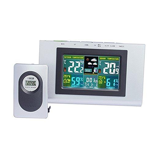 Baffect Station météo sans Fil avec capteur extérieur intérieur, température et humidité précises Horloge Couleur Affichage Station météo avec alarmes de température
