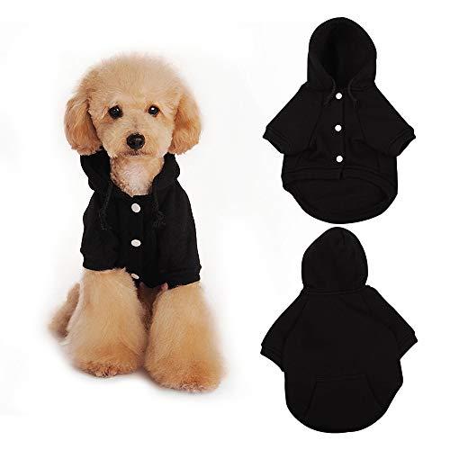 Eastlion Sudaderas con Capucha para Perros Gatos Suéter Perro,Invierno Cálido Abrigo Ropa de algodón para Perros Pequeños y Medianos (Negro,S)