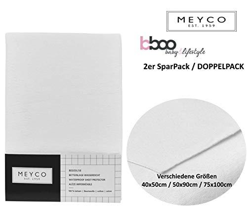 MEYCO Baby ** Waterdichte matrasbeschermer MOLTON 100% katoen ** ademend, kookbestendig, zacht in verschillende maten 2er Pack 50x90cm