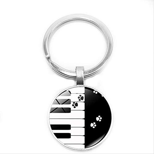 2020 New Dog Paw Piano Schlüsselbund Schmuck Silber Schlüsselring Glas Konvexe Umhängetasche Anhänger Schlüsselbund Musik Geschenk
