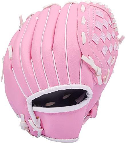 LANSONTECH Baseball-Handschuhe, Softball-Handschuhe, Sport-Schlaghandschuhe, PU-Leder, linke Hand für Kinder, Teenager, Erwachsene (Pink, 26,7 cm)