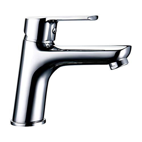 LLAVISAN L152374 - Grifo monomando para lavabo de la serie SIO, latón de alta calidad, cromo con brillo