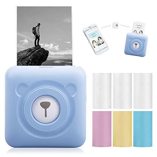 Mini Pocket Drahtlos Thermodrucker Aufkleber Bild Memo Drucker 7PCS Thermopapier Bluetooth Thermofotodrucker BT4.0 Taschendrucker USB Aufladen für Android iOS Windows