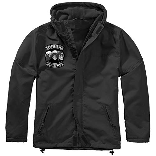 Spaß kostet Männer und Herren Gefütterter Windbreaker Jacke mit Aufnäher Patch Brotherhood Größe S bis 7XL