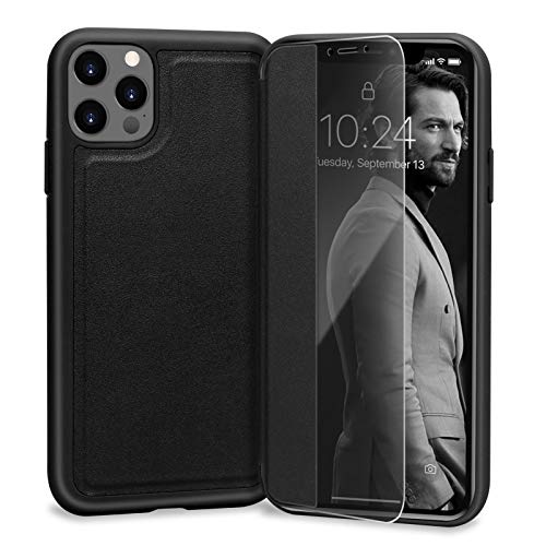 Skycase Compatible for iPhone 12 Pro Max Case 5G, Handmade Slim Flip Folio Case Designed with Interior SD/SIM and Ejector Pin Slots for iPhone 12 Pro Max 6.7 inch 2020,Black
