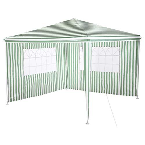 Silvertree Pavillon Set Mika | 3 x 3 m | 2 Seitenteile | grün/weiss | Streifen | Partyzelt | Gartenzelt | Festzelt | Camping | Höhe ca. 260 cm