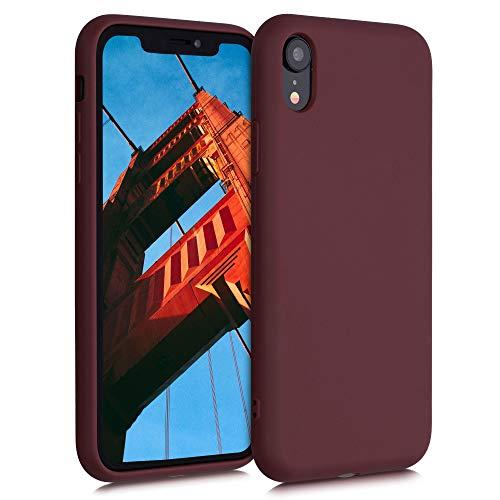 kalibri Cover Compatibile con Apple iPhone XR - Custodia Cover in Silicone e Paglia - Backcover Matt Anti-Impronte - Rosso Fulvo
