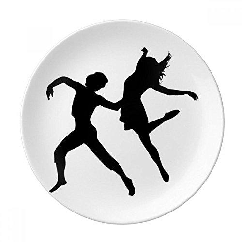 DIYthinker Duo Danse Danseur Sport Performance décorative Porcelaine Assiette à Dessert 8 Pouces Dîner Accueil Cadeau 21cm diamètre Multicolor