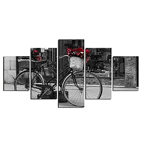 Anvaong Pinturas Artísticas150×115Cm Framed Cuadro Sobre Lienzo Para Pared, Pintura Impresa, 5 Piezas, Imagen De Impresión Hd De Bicicleta Blanca Y Negra Para Decoración Del Hogar
