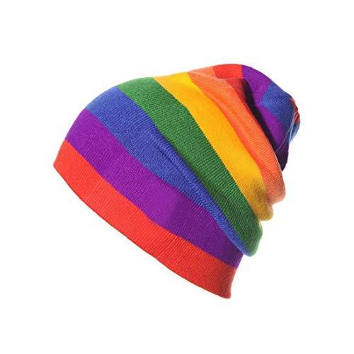 XKJFZ Outdoor-Regenbogen-Ski-Hut-Regenbogen-Winter Ski Hut Warm-Schädel-Kappe Dicke Strickreitkappe für Männer Frauen Rosa-Schwarz-Blau 1pc Winter warm Supplies