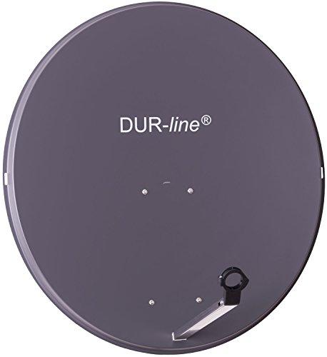 DUR-line MDA 90cm Anthrazit - Aluminium Satellitenschüssel mit LNB Feedhalterung - Sat Antenne Spiegel Anlage [Digital, Camping, Astra 19,2°, DVB-S/S2, Full HD, 4K, 3D]