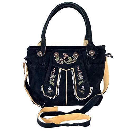 Trachtentasche Dirndltasche Lederhosen-Tasche Wildleder schwarz mit Farbiger Trachten-Stickerei