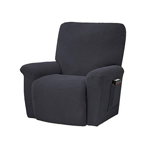 Funda de sofá elástica reclinable de Estilo Europeo, Gris carbón, Forro Polar Grueso, Almohadilla de protección reclinable, Funda Antideslizante para Muebles, Gris Oscuro