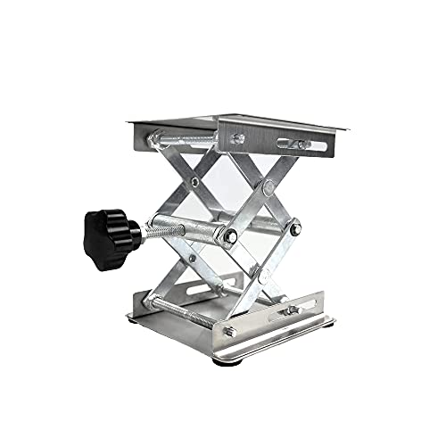"""Stainless Steel Lab Jack, 6""""x6""""Stand Table Lift, Expandable Lift Height Range from 75mm to 265mm, Support Weight 15KG/33pounds"""