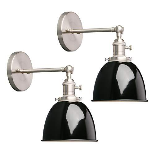 Phansthy 2 Stücke Deckenhalbkreis mit Metall-Schirm Wandbeleuchtung Wandleuchten Vintage Industrie Loft-Wandlampen Antik Deko Design Wandbeleuchtung Küchenwandleuchte (Schwarz)