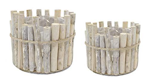 DARO DEKO Blumentopf aus Holz rund 2 Stück - S und L