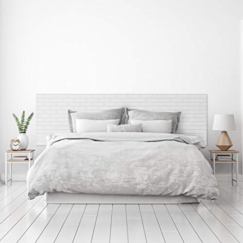 MEGADECOR Cabecero Cama PVC Decorativo Económico Textura Ladrillo Blanco Encalado Varias Medidas (150 cm x 60 cm)