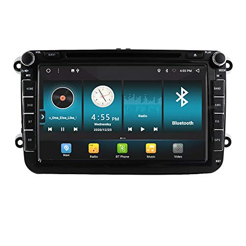 8 Zoll Android 10 GPS Autoradio DVD-Player kompatibel mit Volkswagen, Golf, Passat, Polo / Skoda / Sitz, Stereo Eingebautes WiFi USB Bluetooth5.0 RDS DSP Carplay Lenkradsteuerung Dual Radio Tuner
