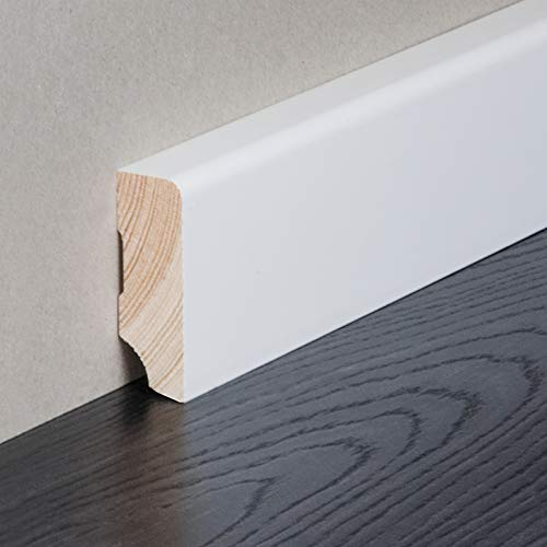 HORI® Sockelleiste weiß foliert RAL 9010 I Massivholzkern Fußleiste I Modernes Profil I Höhe: 40 mm