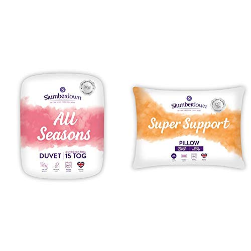 Slumberdown All Seasons Single Duvet 4.5 Tog Plus Single Duvet 10.5 Tog 3-in-1 & Super Support White Pillows 2 Pack Firm Support Designed for Back and Side Sleepers Bed Pillows