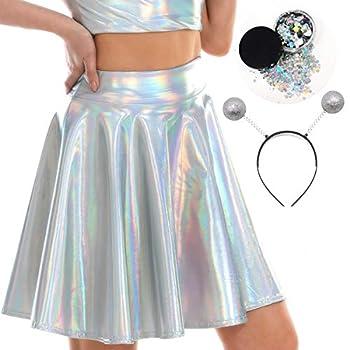 Kiddokids Women s Alien Costume with Silver Martian Headband Skirt  Smal