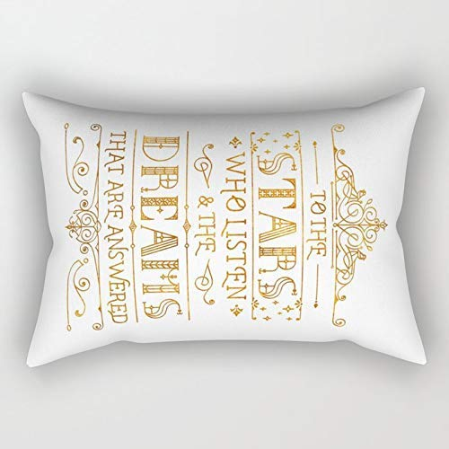 Yuanmeiju To The Stars White Rectangular Pillowcase Cushion Cover 20x30 Inch
