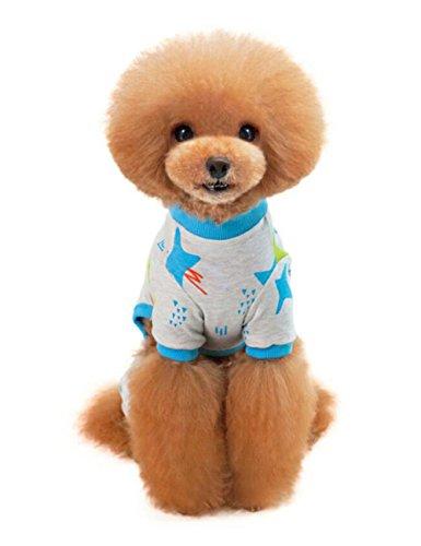 Hundekleidung, Niedlich Pyjama, Hund Nachthemd, Baumwolle Nachtwäsche, Nachthemd, Lass deine Haustiere sehr gut schlafen (L, Blau)
