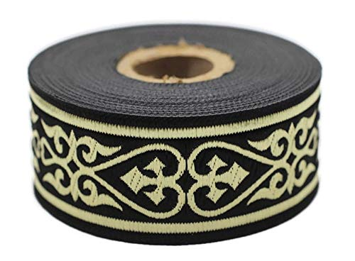 11 Yard Spool 1.37 inches Wide Royal Celtic Heart Jacquard Ribbons Gold/Black Jacquard Trim Ribbon Trim Sewing Trims