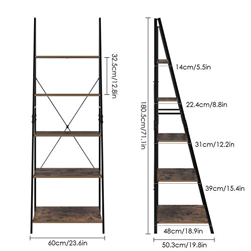 HOMFA Ladder Shelf, 5 Tier Vintage Bookcase, Multifunctional Bookshelf Plant Flower Stand Storage Rack Shelves, Wood Look Accent Metal Frame Modern Furniture Home Office