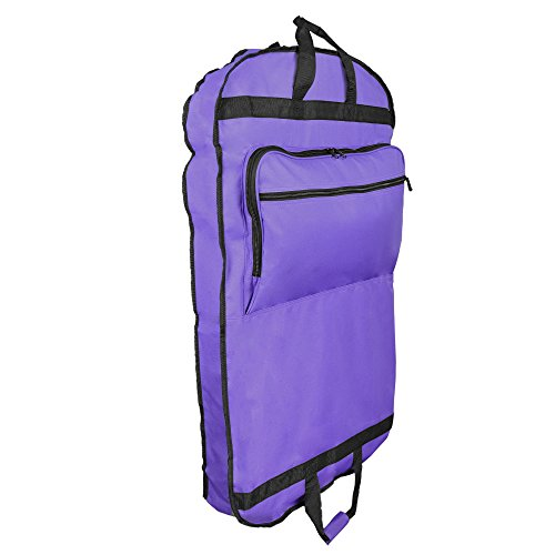 DALIX 39' Garment Bag Cover Suits Dresses Clothing Foldable Shoe Pocket in Purple