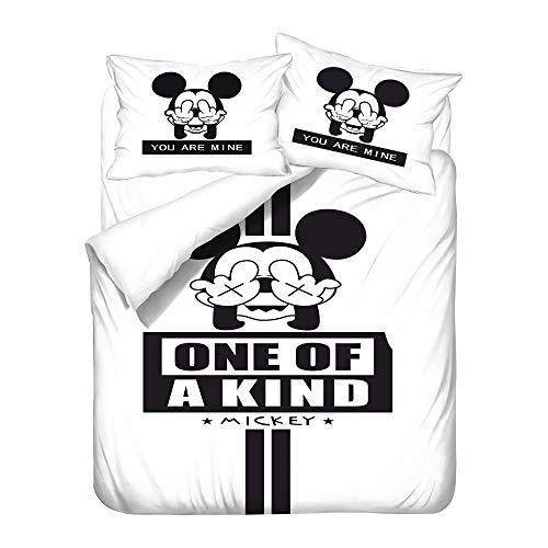 Amacigana Mickey Minnie Mouse Kinderbettbezug, 3 Stück, Jungen und Mädchen, Bettwäsche, superweiche Mikrofaser (Mickey Maus 15,220cm x 240cm)
