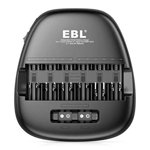 EBL Smart Universal Battery Charger, 14 Bay Battery Charger for AA AAA C D 9V NiMH NiCD Rechargeable Batteries and 2 USB Port for Charging Phone and Tablets