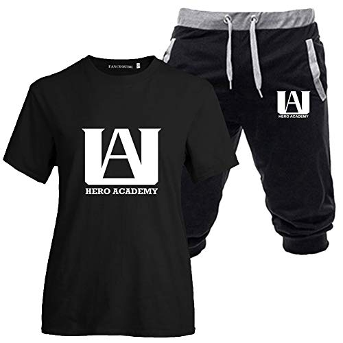 BUBABOX 2 Piece My Hero Academia Tracksuit Outfits Youth Teens My Hero Academia Shirt and Capris Shorts Pants Workout Suit(M #06 Black)
