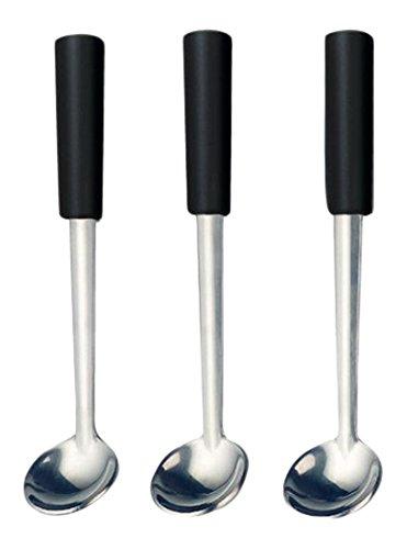 kela 79312 Set cuillères à Fondue Morena 6 pièces en Acier Inoxydable/Plastique, Argent/Noir, 13 x 3 x 3 cm