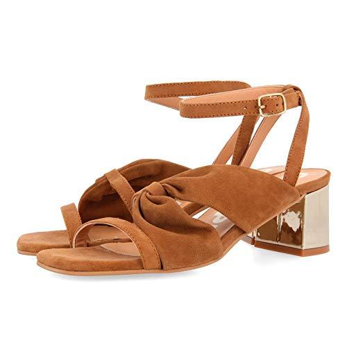 Gioseppo Andover, Zapatos de tacón con Punta Abierta Mujer, Marrón (Cuero Cuero), 41 EU
