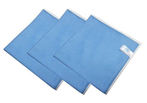 Glastuch (3 Stck) aus Microfaser für Nass- und Trockenreinigung von glatten Oberflächen. Fenstertuch für Glas / Scheiben / Spiegel für fussel- und streifenfreie Oberflächen. Hohe Aufnahmekraft von Sch