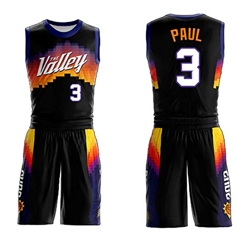 Conjunto De Uniforme De Baloncesto De Chris Paul para Hombre De La NBA Phoenix Suns # 3, Camiseta Baloncesto De Nueva Temporada, Camiseta Sin Mangas Y Pantalones Cortos,Negro,M
