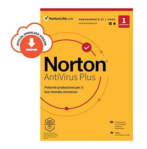 Norton Antivirus Plus 2021, Antivirus per 1 Dispositivo Licenza di 1 anno Secure VPN e Password Manager PC, Mac, tablet e smartphone Standard PC/Mac, Codice d'attivazione via email