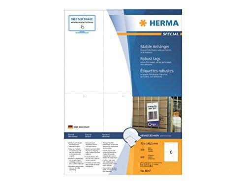 HERMA 8047 Stabile Anhänger DIN A4 (70 x 148,5 mm, 100 Blatt, Papier/Folie/Papier-Verbund) perforiert, bedruckbar, nicht klebende Preisanhänger, 600 Produktanhänger, weiß