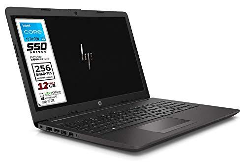 HP 250 G7 SSD Notebook PC, Cpu Intel Core i3 di 10 gen. fino a 3,4 GHz, display 15.6 HD LED, SSd Nvme da 256 Gb, 12 GB Ram, Bt, wi-fi, DVD/CD, Webcam, Win10 Pro 64 , pronto all'uso, Garanzia Italia