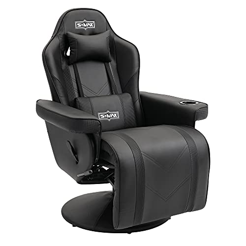 SMAX Gaming Recliner Chair Racing Style Ergonomic High Back Swivel PU Leather Gaming Chair Recliner with Adjustable Backrest and Footrest Cup Holders Side Pouch Gamer Chairs for Adults Black