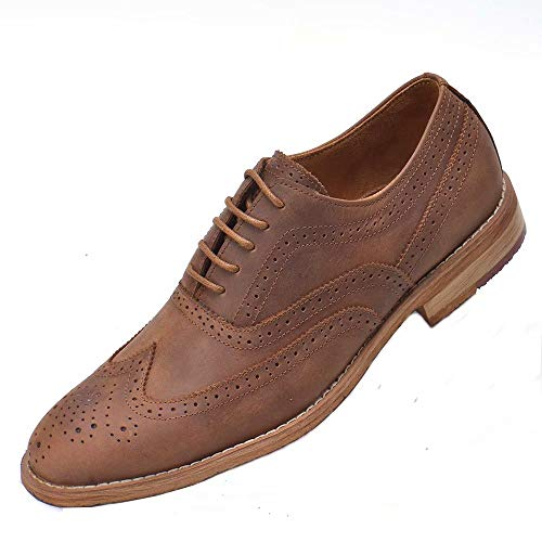 Men's Classic Dress Shoes Modern Oxford Wingtip Lace up Casual Formal Business Leather Shoes