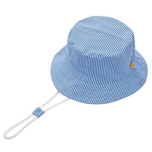 Foruhoo Baby Sonnenhut Kinder Hut, Sommerhut Mütze for Jungen Mädchen mit Verstellbar Kordelzug (54cm / 4-8 Jahre,Streifen 1)