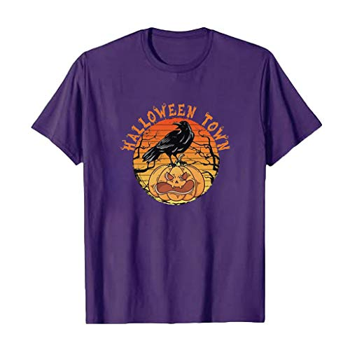 Meikosks Halloween T Shirt Womens Funny Pumpkin Print Tops Round Neck Short Sleeve Blouses Dark Purple