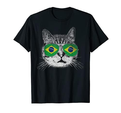 Camisa de gato con bandera brasileña de Brasil, diseño retro divertido Camiseta