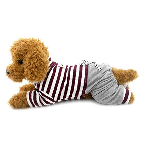 Ranphy Gestreifter Jumpsuit für kleine Hunde mit Hose, Bequeme Baumwolle Haustierkleidung Katzen Bekleidung Schlafanzug PJS Shirt Jungen Jammies Hündchen Pullover Braun XXL