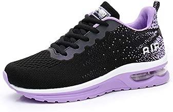 RUMPRA Women Sneakers Lightweight Air Cushion Gym Fashion Shoes Breathable Walking Running Athletic Sport(B-Black/Purple,39