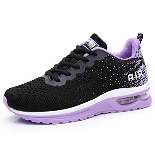 RUMPRA Women Sneakers Lightweight Air Cushion Gym Fashion Shoes Breathable Walking Running Athletic Sport(B-Black/Purple,40
