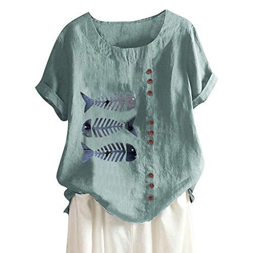MOTOCO Damen Übergröße Kurzarm T-Shirt Top Lässig O Ausschnitt Mit Knopf Mode Tier Druck Lose Tees(2XL,Grün-2)