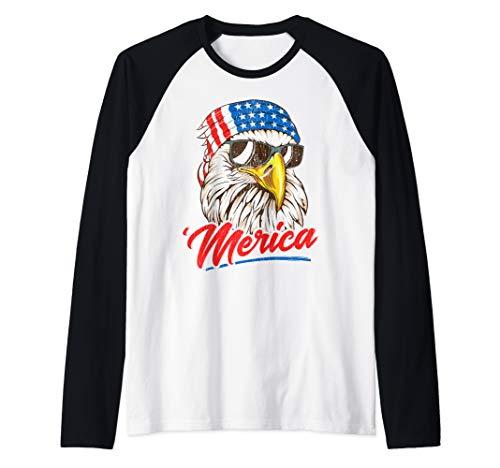 Bald Eagle Merica 80s Mullet Eagle America USA 4th of July Raglan Baseball Tee